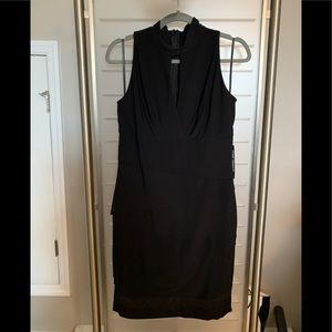 Whitehouse Blackmarket Black Mock Neck Dress